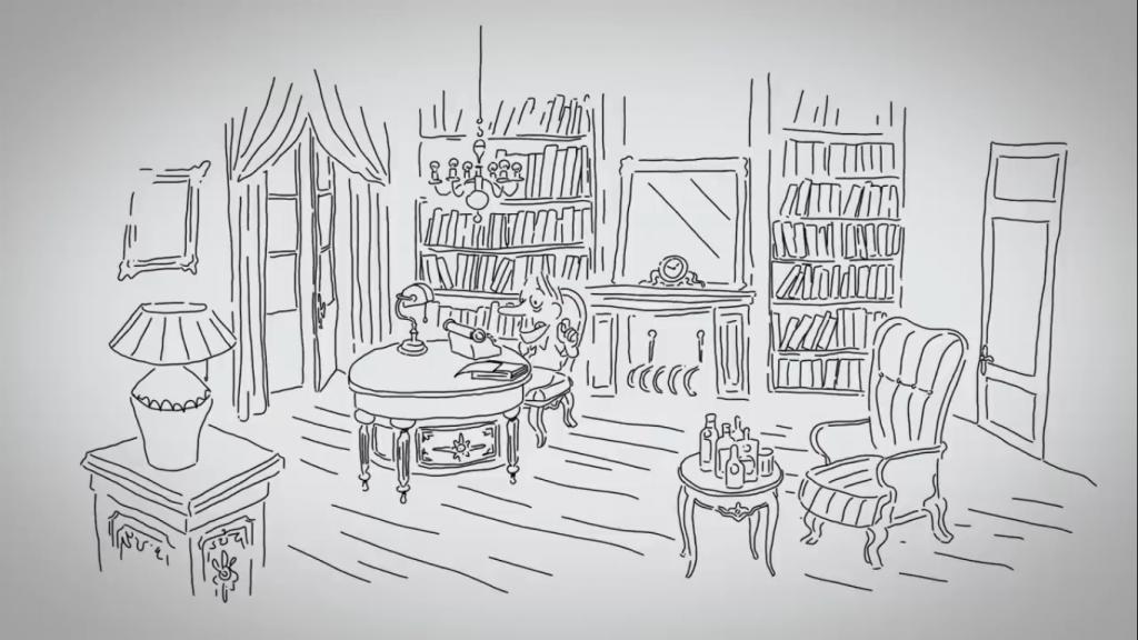 Um escritor em seu espaço de trabalho. Será que ele escreve em primeira ou terceira pessoa?